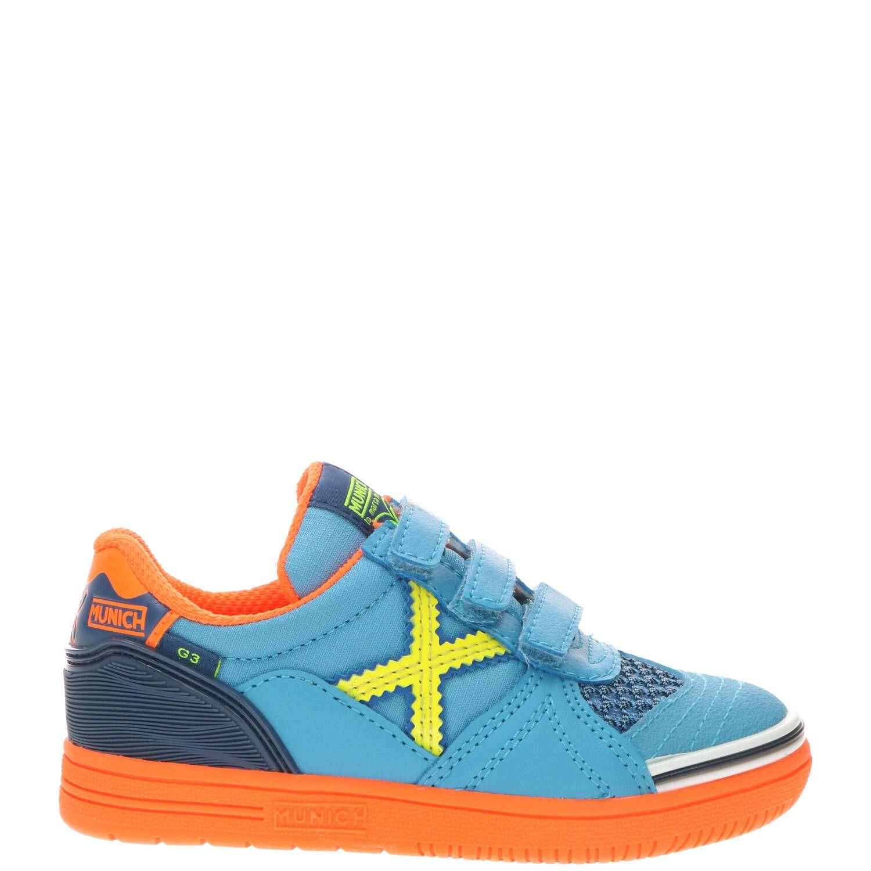 Munich jongensschoen, Lage schoenen, Jongen, Maat 33, blauw/oranje