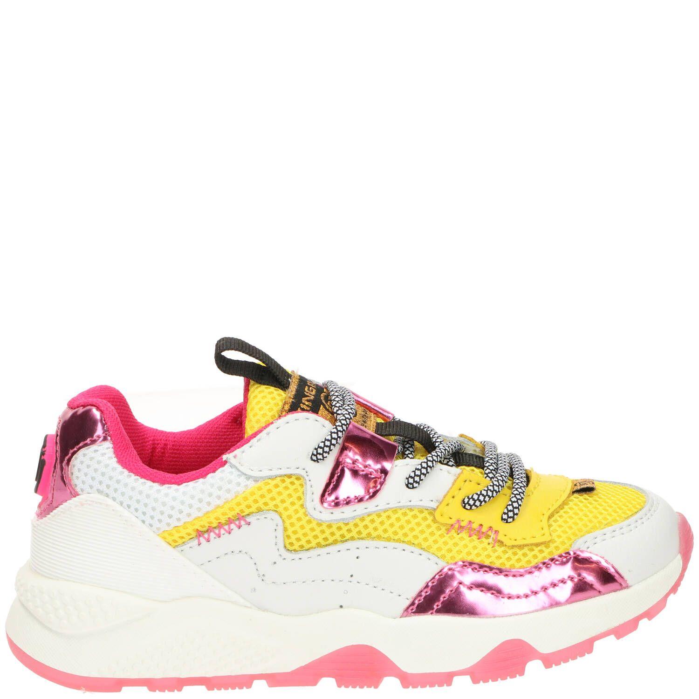Vingino Mila sneaker, Sneakers, Meisje, Maat 35, wit/geel/roze
